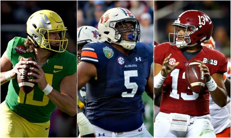 Left: Justin Herbert, QB, Oregon Middle Derrick Brown, DL, Auburn Right: Tua Tagovailoa, QB, Alabama