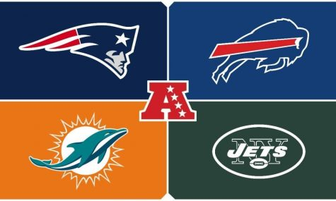 Top Left: New England Patriots  Top Right: Buffalo Bills   Bottom Left: Miami Dolphins   Bottom Right: New York Jets