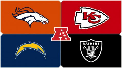 Top Left: Denver Broncos Top Right: Kansas City Chiefs Bottom Left: Los Angeles Chargers Bottom Right: Las Vegas Raiders