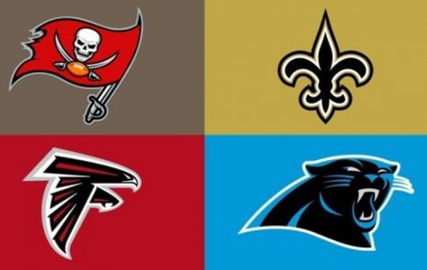Top Left: Tampa Bay Buccaneers  Top Right: New Orleans Saints  Bottom Left: Atlanta Falcons  Bottom Right: Carolina Panthers