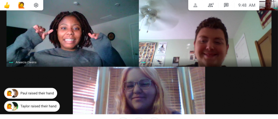 Google meet of three students, two raising their hands, and one not raising her hand, with a freaked out expression on her face.