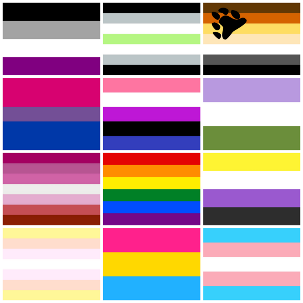 A collage of the different pride flags