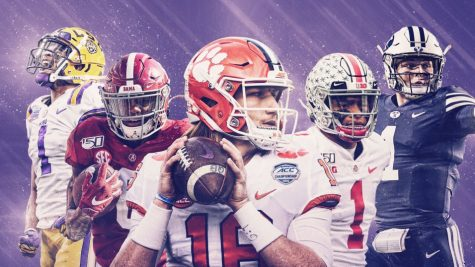 Far Left -Jamar Chase: WR, LSU, Middle left - DeVonta Smith: WR, Alabama, Middle - Trevor Lawrence: QB, Clemson, Middle Right - Justin Fields: QB, Ohio State, Far Right - Zach Wilson: QB, BYU