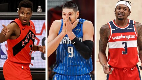 Left: Kyle Lowry - Toronto Raptors  Middle: Nikola Vucevic - Orlando Magic  Right: Bradley Beal - Washington Wizards