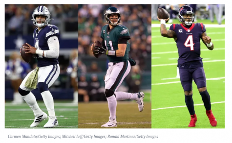 Left: Dak Prescott - QB, Dallas Cowboys Middle: Carson Wentz - QB, Indianapolis Colts Right: Deshawn Watson - QB, Houston Texans