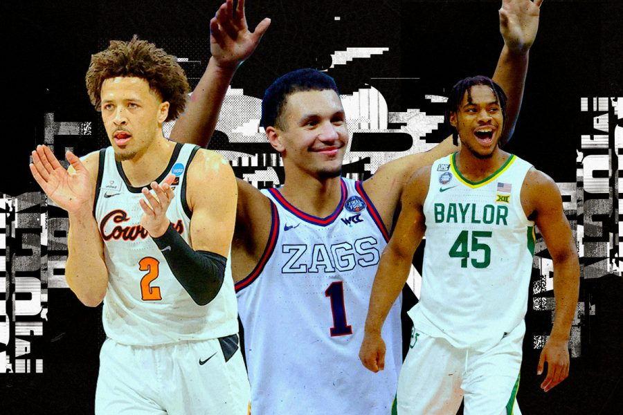Left: Cade Cunningham - Oklahoma State, Middle: Jalen Suggs - Gonzaga, Right: Davion Mitchell - Baylor